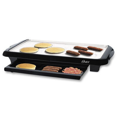 Oster® DuraCeramic™ Griddle with Warming Tray, Black & Silver