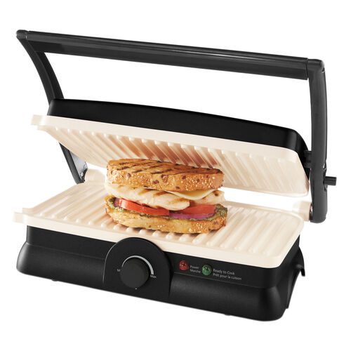 Oster® DuraCeramic™ Panini Maker & Grill, Black & White