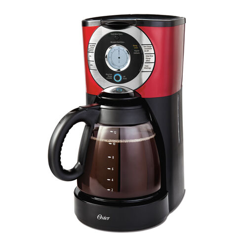 Red Programmable Coffee Maker : Oster 12-Cup Programmable Coffee Maker, Red Stainless Steel BVSTTJX36-033 Oster Canada
