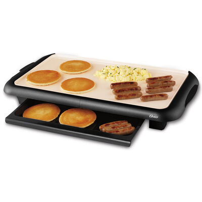 Oster® DuraCeramic™ Griddle with Warming Tray, Black & White